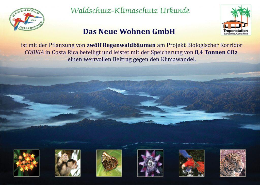 Klima Urkunde für Waldschutz