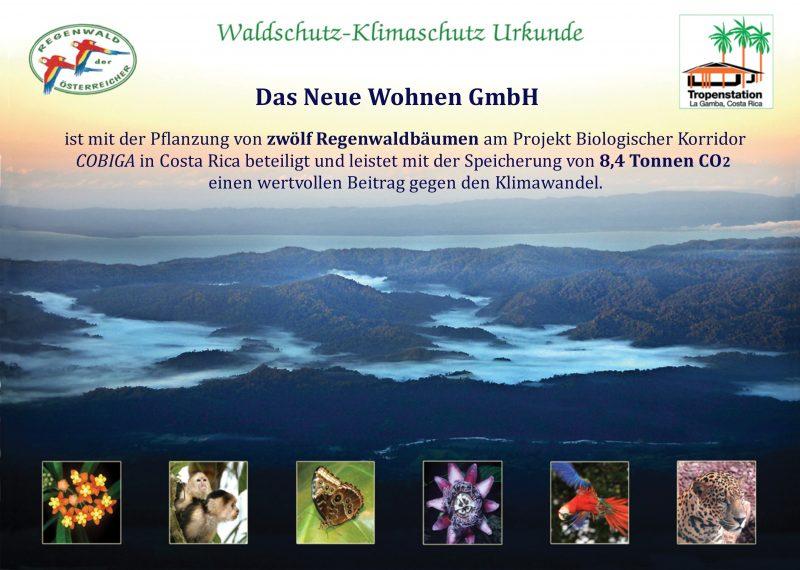 Klima Waldschutz Urkunde